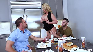 Phoenix Marie seduces a couple of hunks for a hot threesome