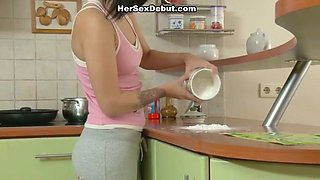 Lustful teen hoe is banged bad in the kitchen