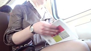 Amateur Girl in the train goes to the exams