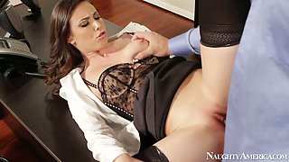 Kinky boss licks sweet pussy of hot brunette babe Casey Calvert on office table
