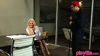 Blonde secretary chick gets fucked by the horny janitor