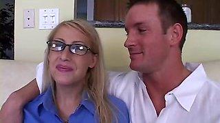 Busty blonde wife in stockings in group fun
