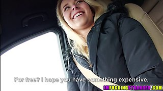 A stunning blonde is picked up and then convinced to fuck a car driver in pov