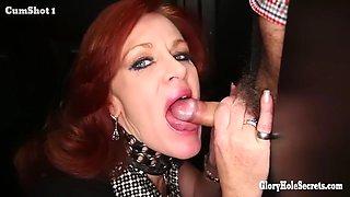 redhead dirty milf loves the taste of strangers cum in random gloryhole