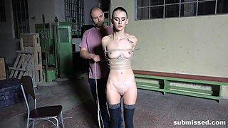 Hardcore bondage abuse scene with Adelle Unicorn spanked