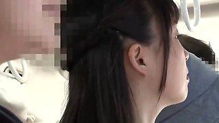 Asian Schoolgirl Lesbian and Teacher on Public Bus