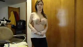 Beautiful Brunette Lotioning Her Epic Tits