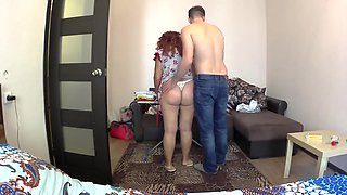 Mom folds her underwear and her son fucks her in the big ass. Mom anal son