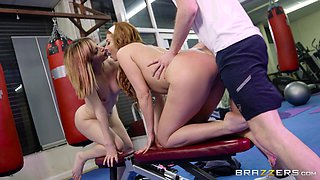 Ava Courcelles and Bianca Resa seduce a trainer for a shag in a gym