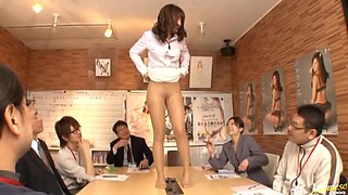 Hot Asian Showing Off and Masturbating Her Trimmed Pussy in Conference