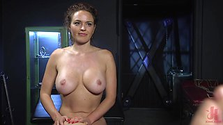 Buxom mature slut Krissy Lynn has her mouth and ass abused in bondage