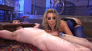 Sexy mistress Cherry Torn fucks dude with the help of strapon