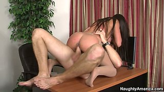 Flexible whore Rahyndee James is getting banged brutally in a missionary position