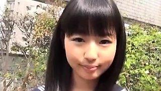 Japanese teen in schoolgirl uniform stripped