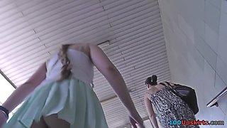 Upskirting video shows an amazing bubble ass bimbo