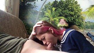 pink-haired schoolgirl amazing blowjob takes the sperm on the face