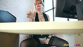Red haired nerdy business lady has some time to tease her own pussy