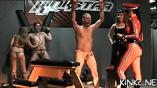 Female domination with babe pissing and making serf swallow
