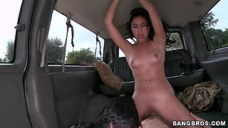 Hot latina girl hops on the BangBus to get her tight pussy fucked - BangBus