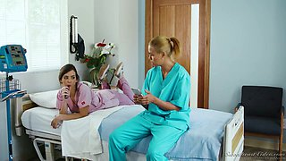 Sex-appeal nurse gets her pussy licked by horny lesbian patient Dana Vespoli