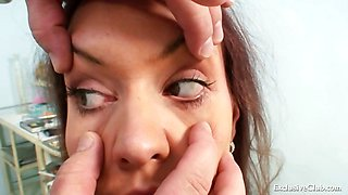 Busty Andrea pussy speculum examination by old gyno doctor