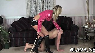 Sub slave gets whipped hard till ass red by sexy mistress