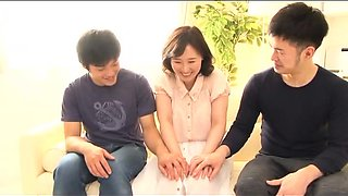 Luscious Asian housewife gets sexually pleased by two boys