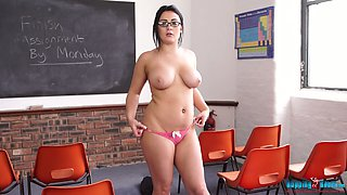 Chubby teacher Roxxi gets totally naked in the classroom