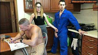 Hot hottie cheats behind her very muscular man back.