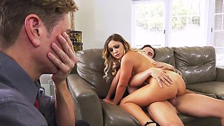 Cleo Vixen insane cuckold show on the leather couch