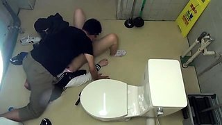 Sweet Asian teen gets fed a meat stick in a public toilet