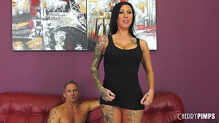 Tattooed Lily Lane grabs and sucks Marcus London's wiener
