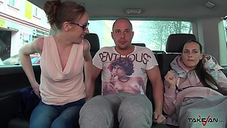 Long haired babe Natalia doggy style pounded in a car