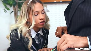 Mischievous Blonde Girl Punished By Her Perverted Te With Khloe Kapri And Steve Holmes