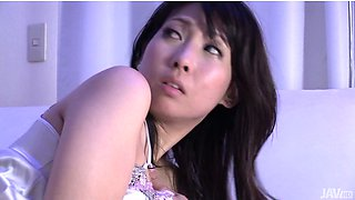 Beautiful short haired lady Chihiro Kitagawa gets pussy massage before sleeping