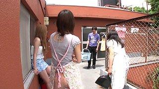 Friends watch as a Japanese girl sucks a dick and screws him