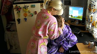 Two lesbians in kimonos decide to make love