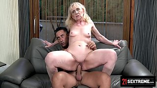 Muscular Dude Loads Up Grannys Mouth With Cum