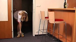 Stunning old and young action with honey seducing dad