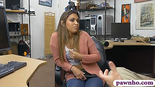 Attractive woman nailed by nasty pawn man in his office