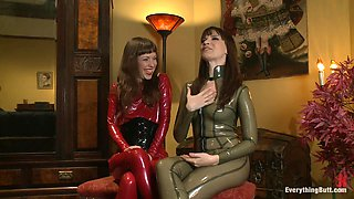 Hot chicks in latex stuff their assholes