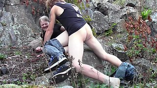 I tear my hot girlfriend's pantyhose and drill her beaver