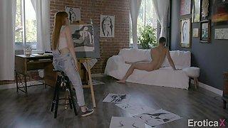 horny brunette artist seduces her male nude model
