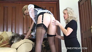 Katie the naughty maid in pantyhose