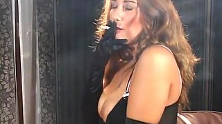 Smoking Fetish - Jacquelyn in a dress and gloves smoking vs100 menthols
