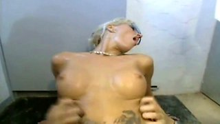 blonde bitch loves anal in the toilet men