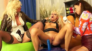 lesbian bitches with a vibrator having tons of fun