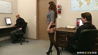 Horny brunette secretary Aleksa fucks her boss in the office