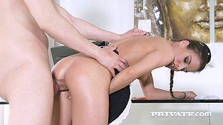 Sexy maid Anita Bellini knows how to look hot and her passion for cock is great