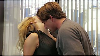Well shaped blond hottie gives a head to brutal guy in the office